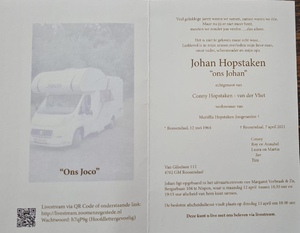 Johan Hopstaken overleden